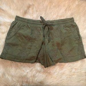 Anthropologie Army Green Lace Lounge Shorts